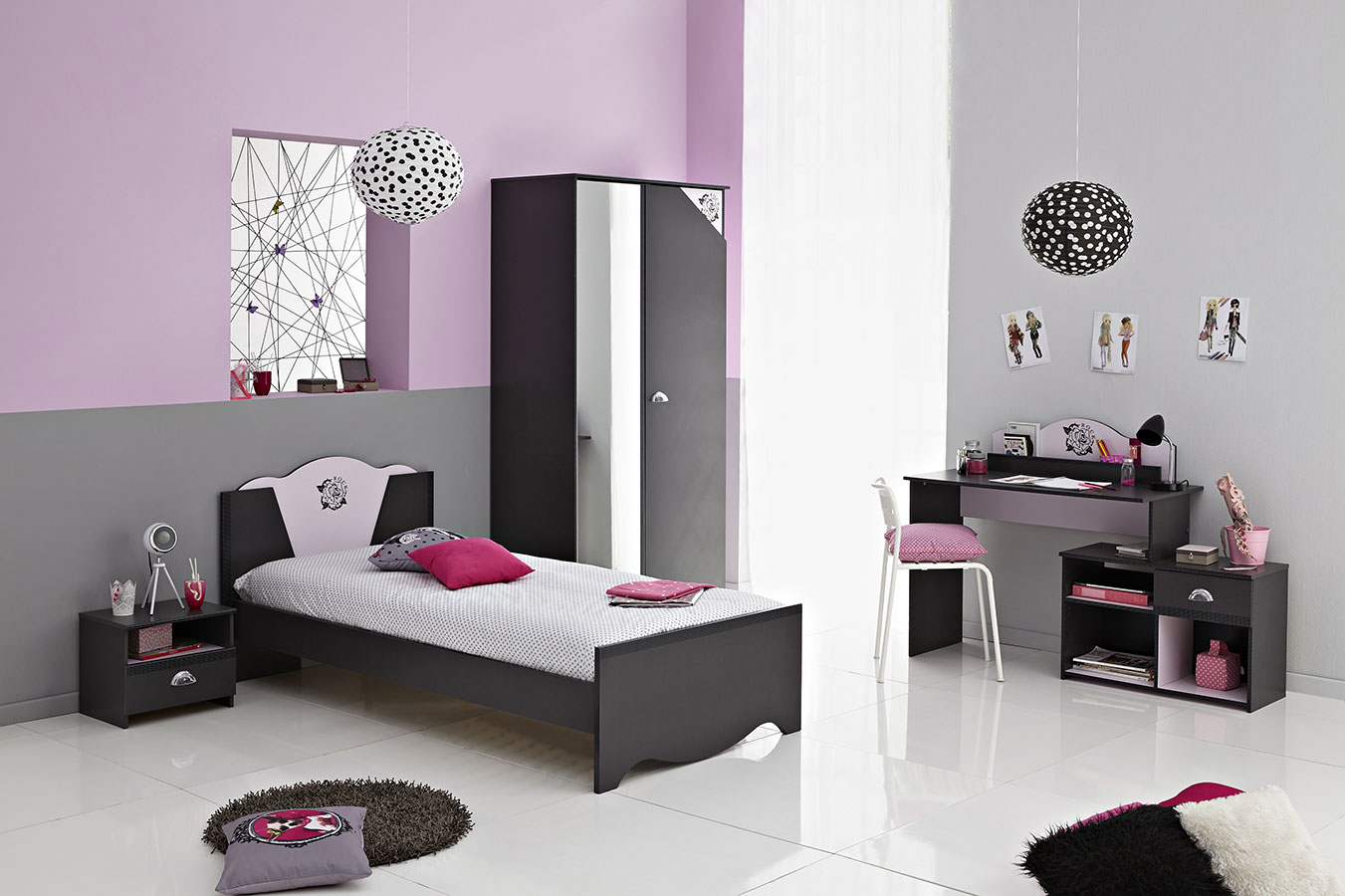 chambre ado fille moderne violet. Black Bedroom Furniture Sets. Home Design Ideas