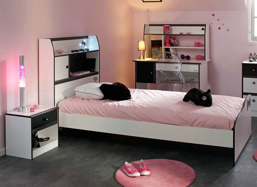 chambre fille noir et blanc gallery of ides pour la chambre duado unique with chambre fille. Black Bedroom Furniture Sets. Home Design Ideas