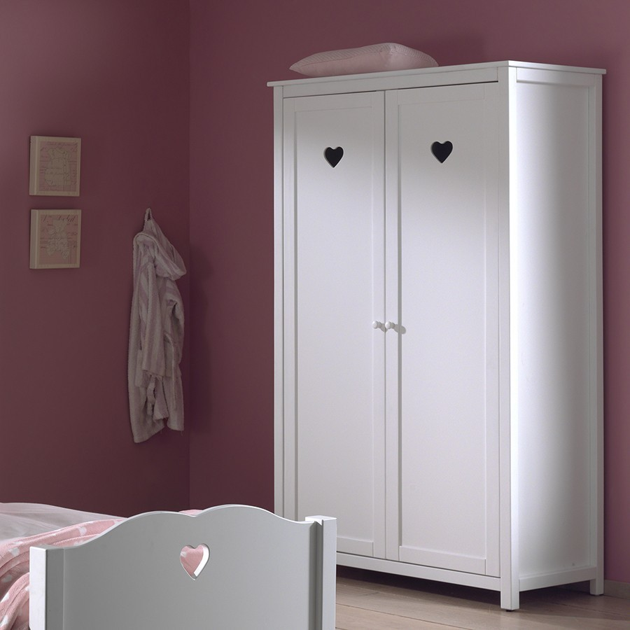 armoire coeur blanche stella zd1 arm e. Black Bedroom Furniture Sets. Home Design Ideas