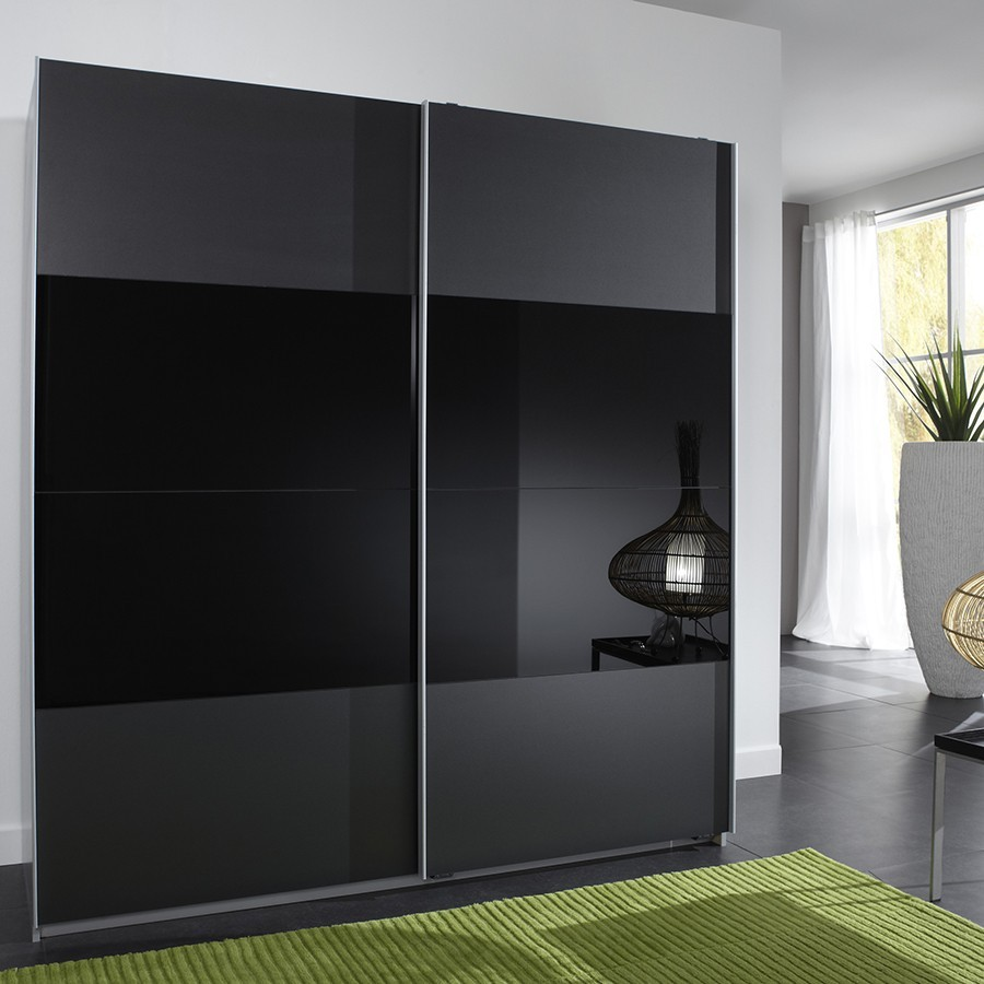 armoire design noire 2 portes coulissantes alun zd1 arm a. Black Bedroom Furniture Sets. Home Design Ideas