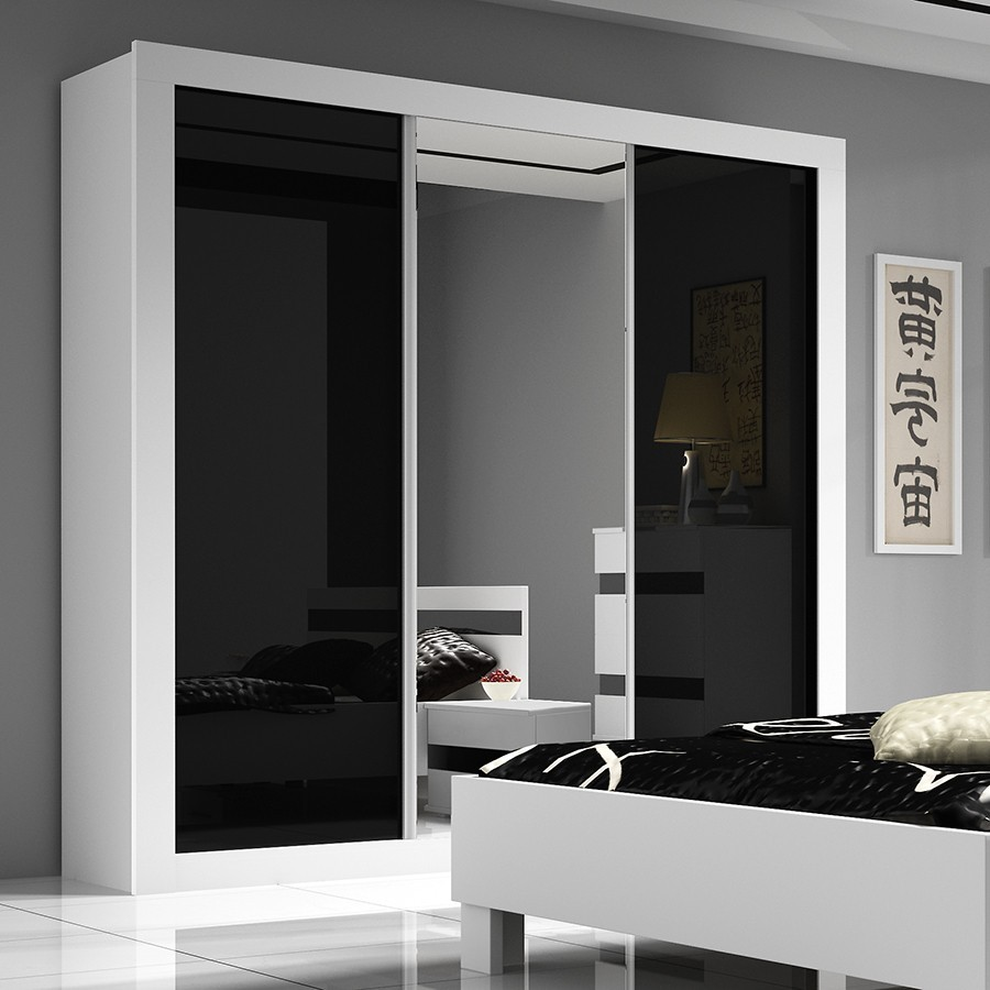 armoire design noire et blanche milan zd1 arm a d. Black Bedroom Furniture Sets. Home Design Ideas
