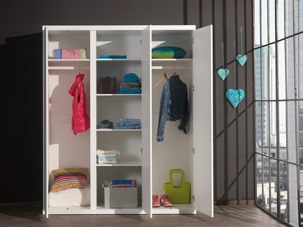 armoire enfant 3portes blanche lorene zd1 arm e. Black Bedroom Furniture Sets. Home Design Ideas