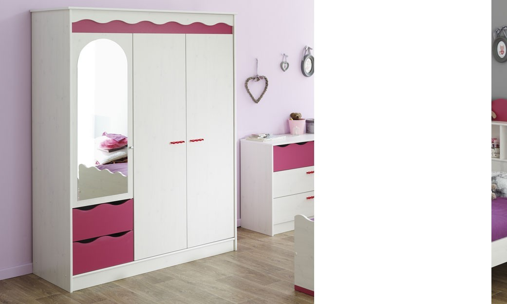 armoire enfant 3 portes couleur blanc et rose melodie. Black Bedroom Furniture Sets. Home Design Ideas