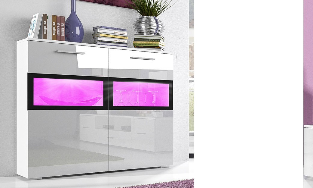 Buffet laqué blanc brillant et finitions noires design ALBANIE