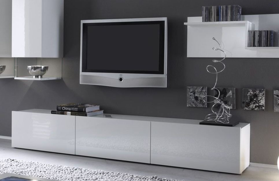 Meuble tv bas long blanc for Meuble tv banc bois