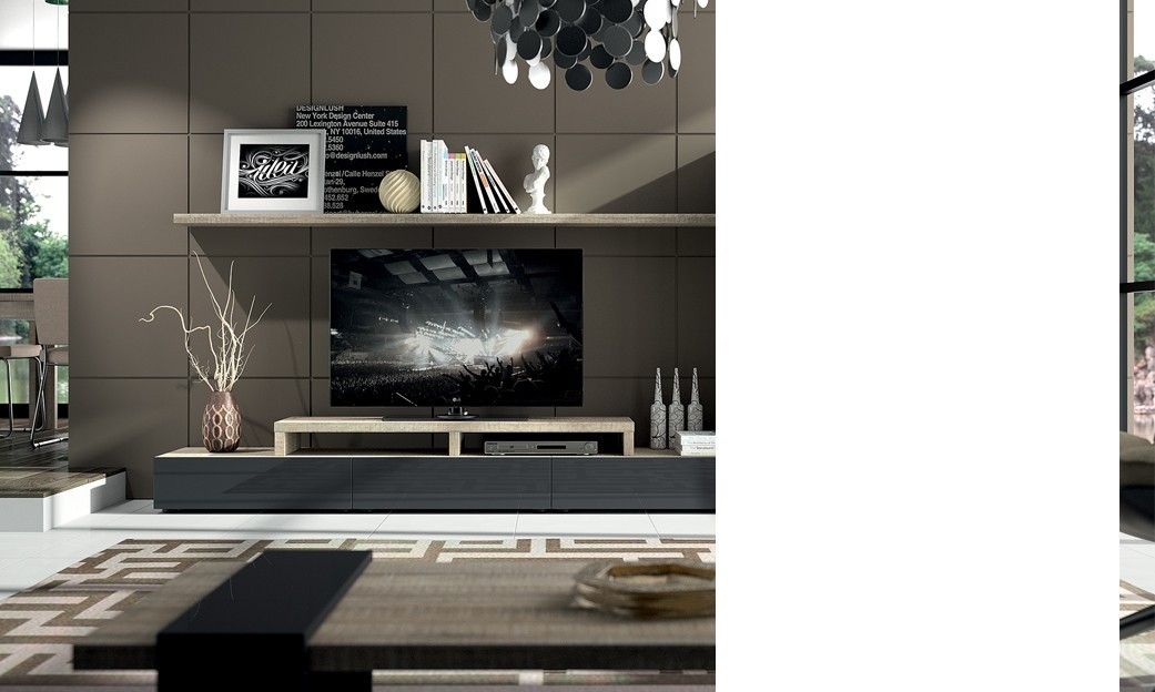 Meuble tv bas contemporain for Meuble tv bas gris