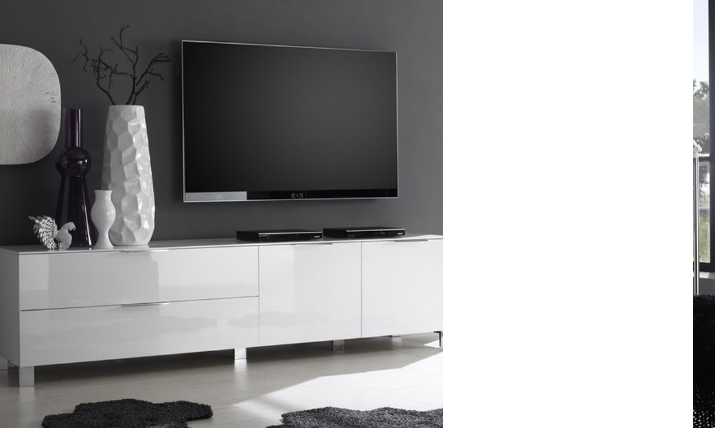 Banc TV design CASABLANCA, Coloris Blanc laqué, disponible en 2 dimensions -> Banc Tv Blanc