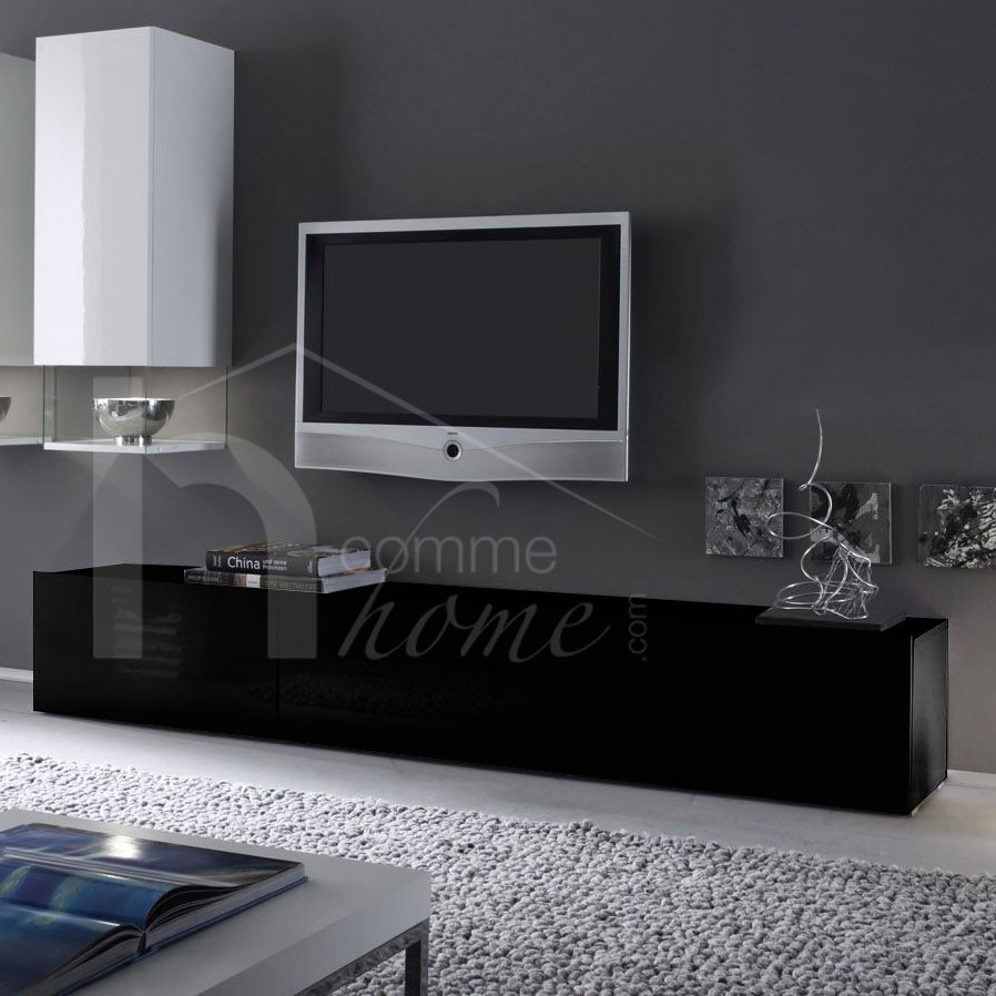 meuble tv laque noir. Black Bedroom Furniture Sets. Home Design Ideas