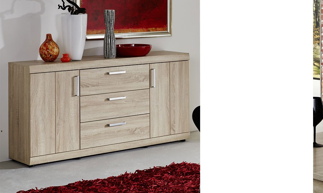 Buffet bahut contemporain couleur ch ne clair ferro - Bahut chene clair contemporain ...