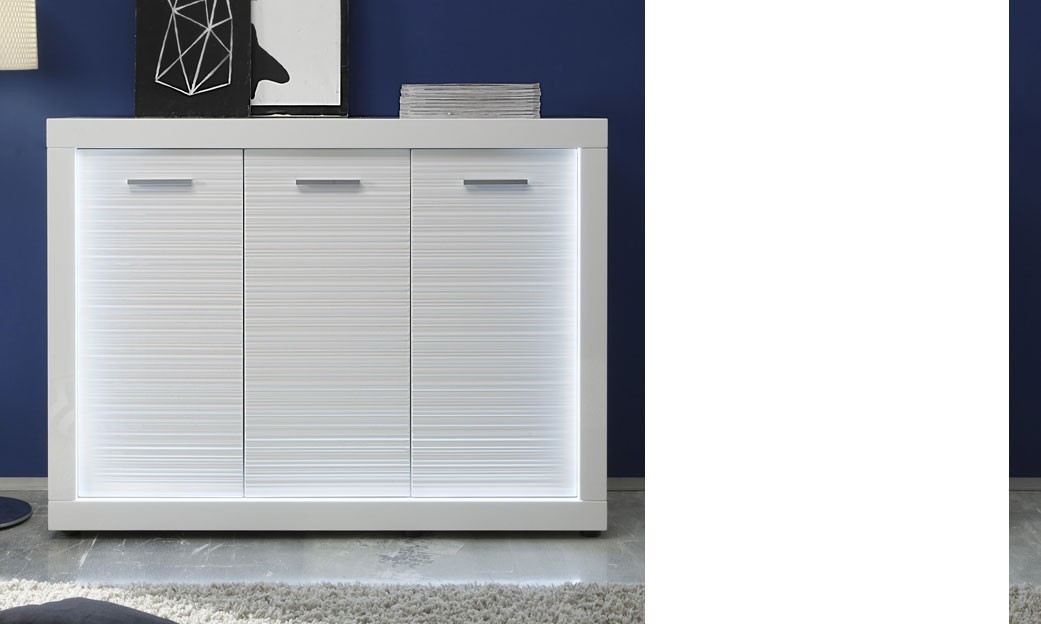 Buffet bahut blanc brillant lumineux design QUANTUM