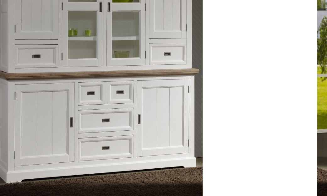 Buffet bahut blanc contemporain en bois massif horus for Buffet bois massif blanc