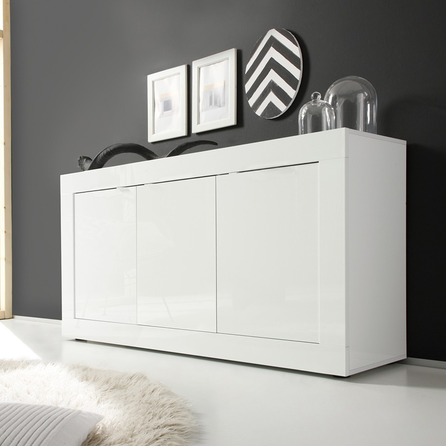 buffet bahut blanc laque design focus 2 zd1 bah d. Black Bedroom Furniture Sets. Home Design Ideas