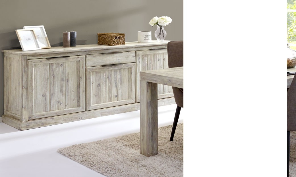 Buffet bahut contemporain en bois massif gotham - Buffet contemporain bois massif ...