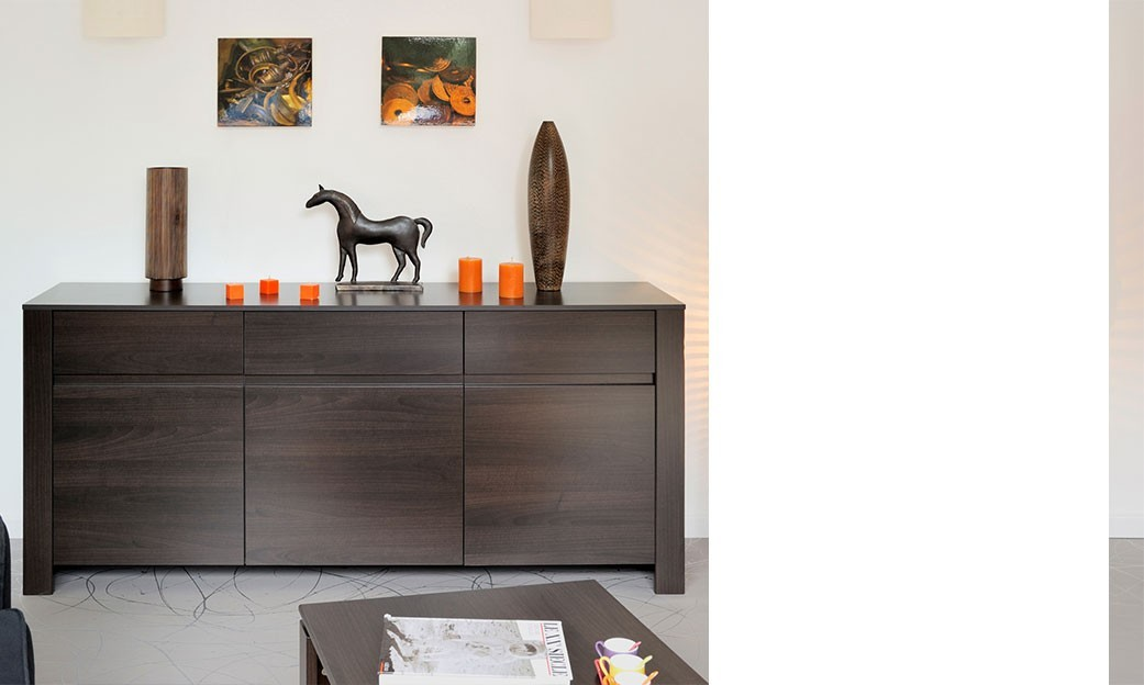 Buffet bahut contemporain couleur wengé MADIBA