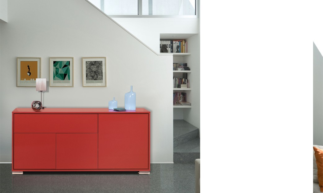 Buffet-bahut 3 portes - 1 tiroir design TRENDY ROUGE