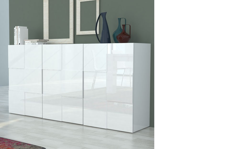 Buffet blanc laqu design betty for Armoire blanc laque pas cher