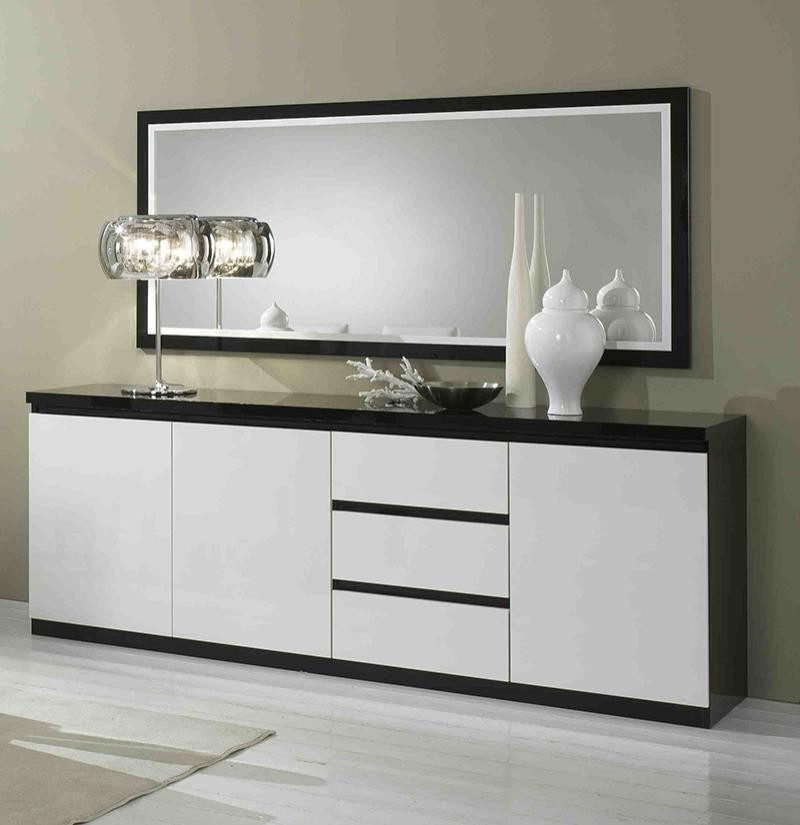Buffet noir laqu conforama for Buffet blanc laque conforama