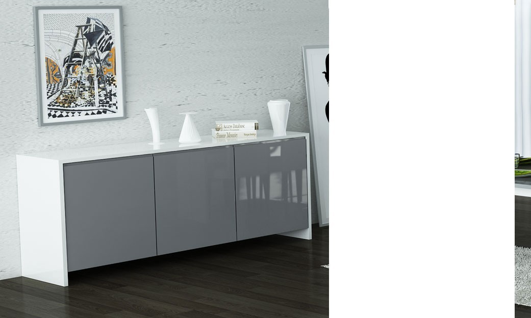 buffet bahut blanc et gris laqu design shiva. Black Bedroom Furniture Sets. Home Design Ideas