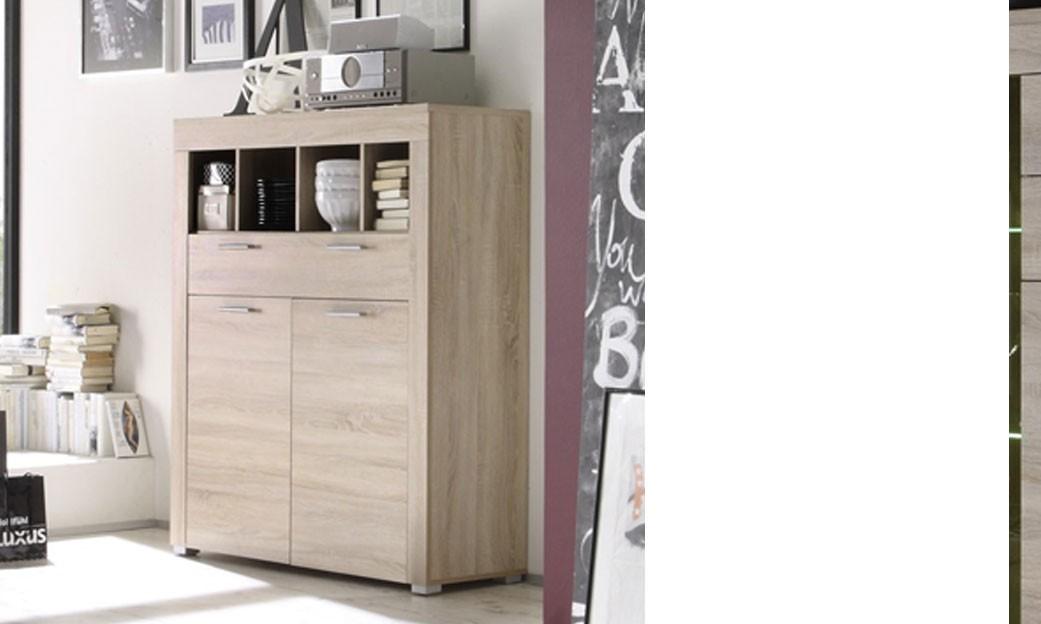 buffet haut ch ne clair moderne crossing. Black Bedroom Furniture Sets. Home Design Ideas