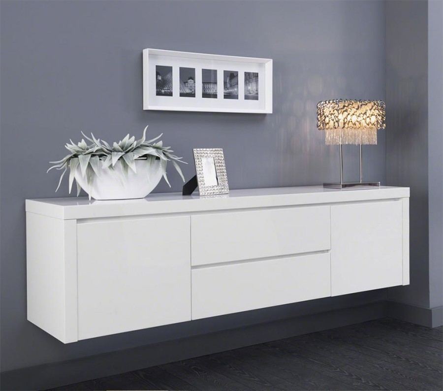 Buffet suspendu blanc serena zd1 bah d for Meuble mural laque brillant design