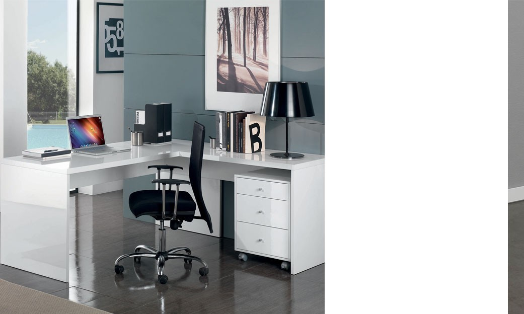 bureau d 39 angle adulte couleur blanc laqu wanda 2. Black Bedroom Furniture Sets. Home Design Ideas