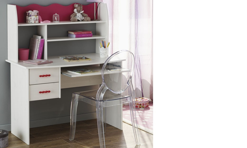 bureau enfant couleur blanc et rose melodie. Black Bedroom Furniture Sets. Home Design Ideas