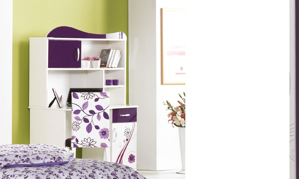 bureau fille avec rangement blanc et violet design samanta. Black Bedroom Furniture Sets. Home Design Ideas