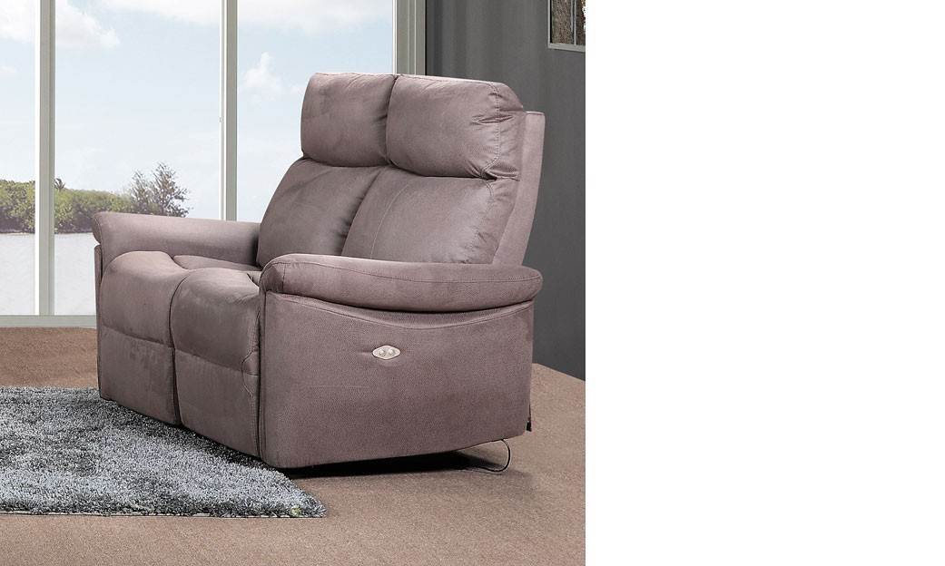 Canap 2 places relax lectrique en tissu taupe joplin for Canape relax 2 places tissu