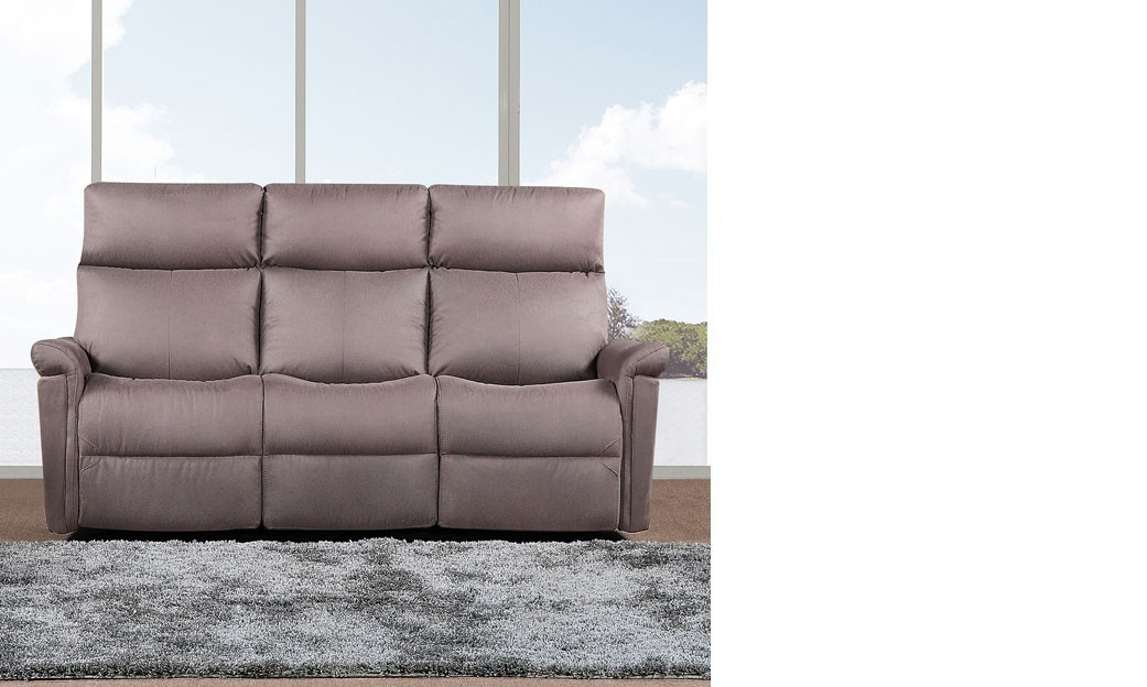 Canap 3 places relax lectrique en tissu taupe joplin for Canape relax 3 places tissu