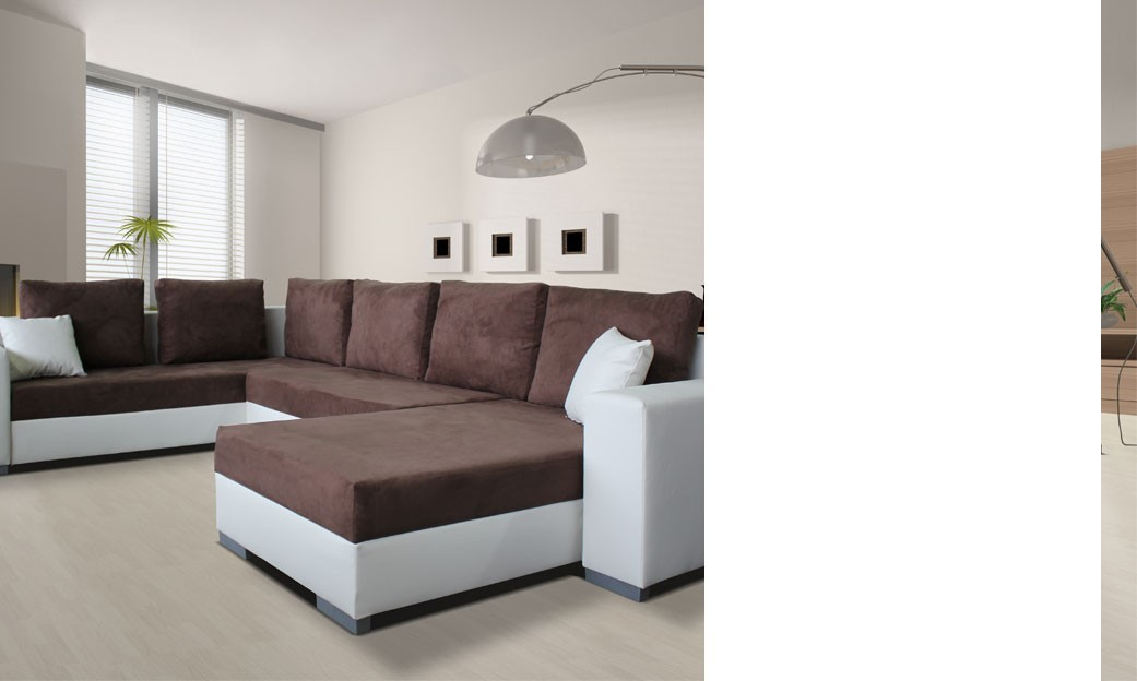 Canapé d'angle convertible taupe et blanc MASSIMO 6