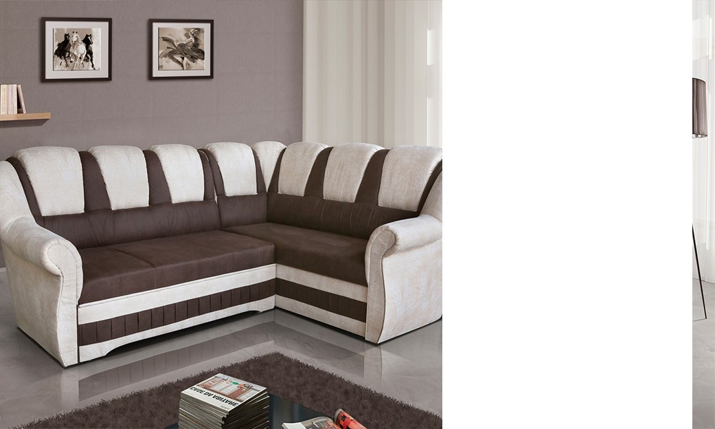 canap d 39 angle convertible blanc et marron anector 2. Black Bedroom Furniture Sets. Home Design Ideas