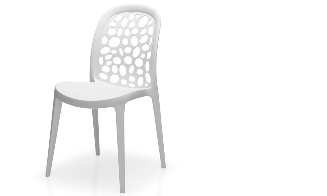 Chaise salle a manger blanche design empilable WESTI (lot de 4)