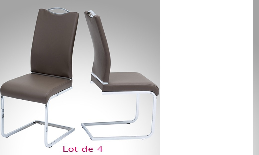 Chaise de salle à manger design PINA MARRON (lot de 4)