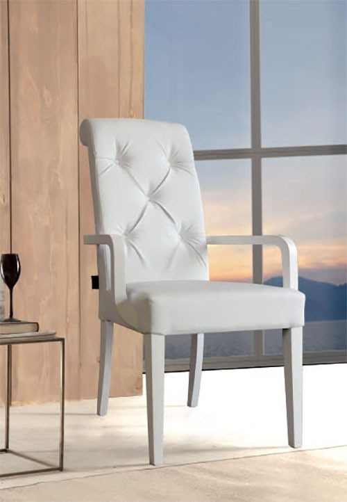 Chaise pu blanche connie zd1 c d ec for Chaise blanche accoudoir