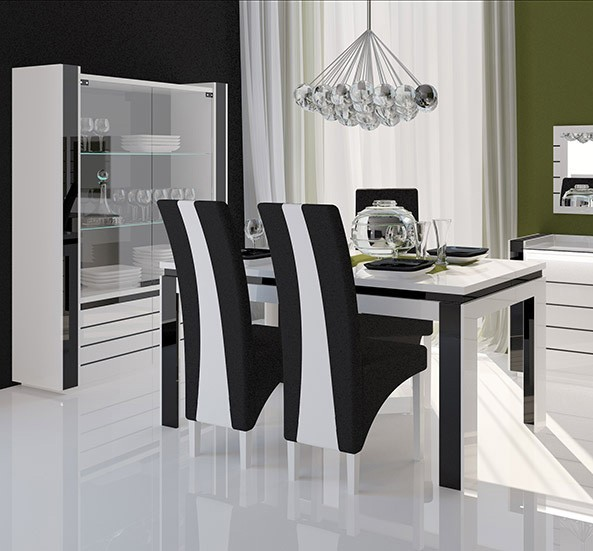 Chaise de salle a manger noir et blanc for Chaise de table a manger design