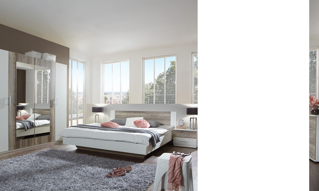 Chambre contemporaine blanc design de maison for Chambre adulte complete blanc