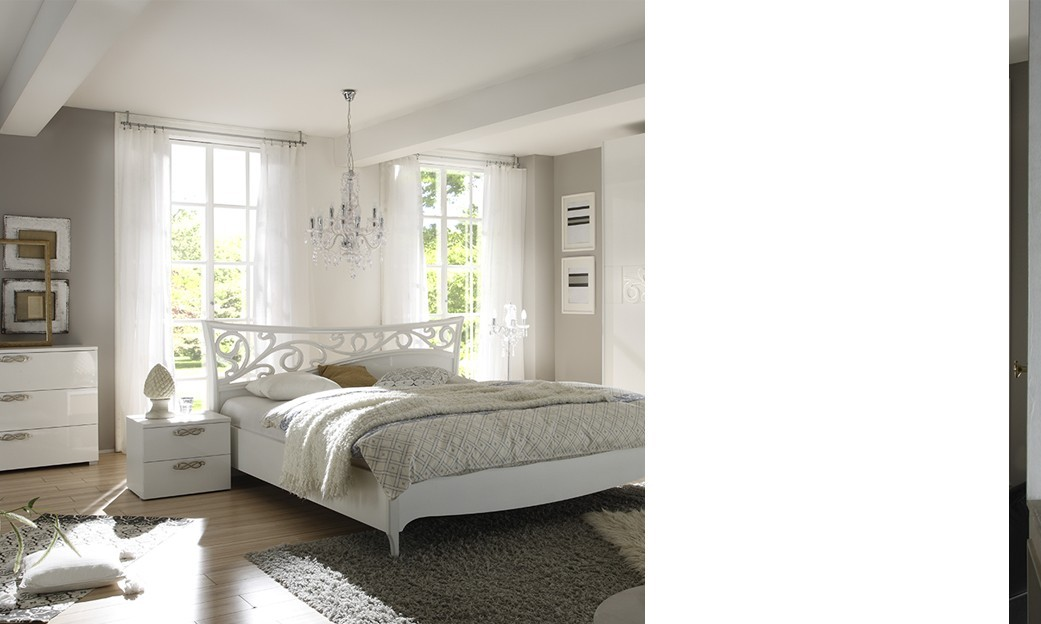 Chambre blanc laqu design for Mobilier chambre adulte