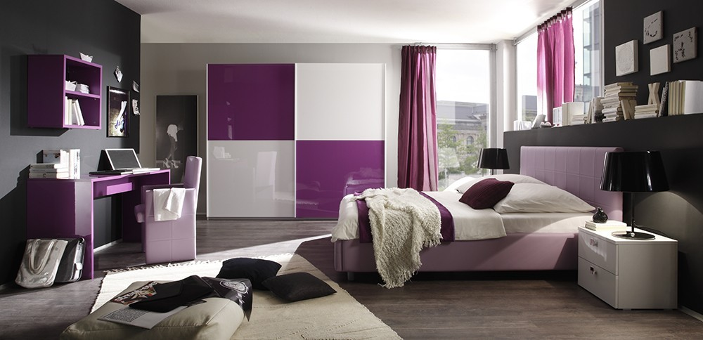 Chambre adulte design laquee lilas zd2 ch a c d for Chambre adulte coloree