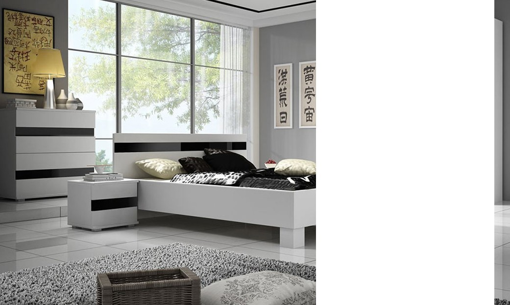 Chambre blanc laque design for Chambre complete adulte japonaise
