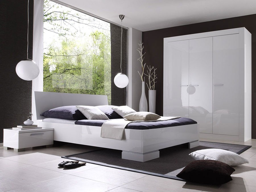 Chambre blanc laqu design for Chambre adulte design