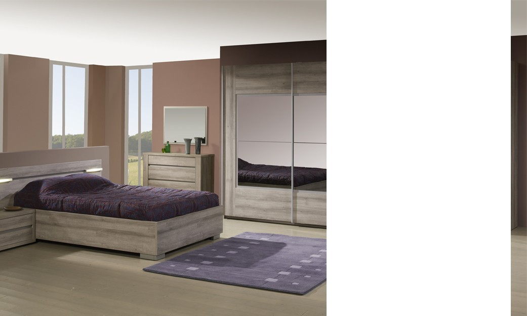 chambre compl te lumineuse contemporaine charlotte coloris ch ne gris. Black Bedroom Furniture Sets. Home Design Ideas