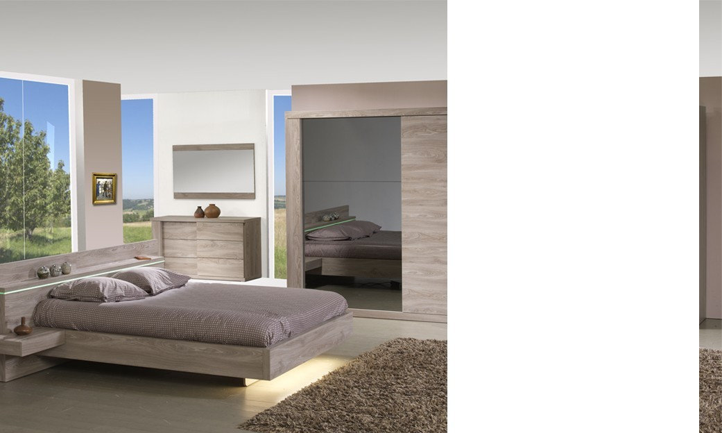 Chambre compl te contemporaine couleur ch ne clair preston for Chambre complete adulte led