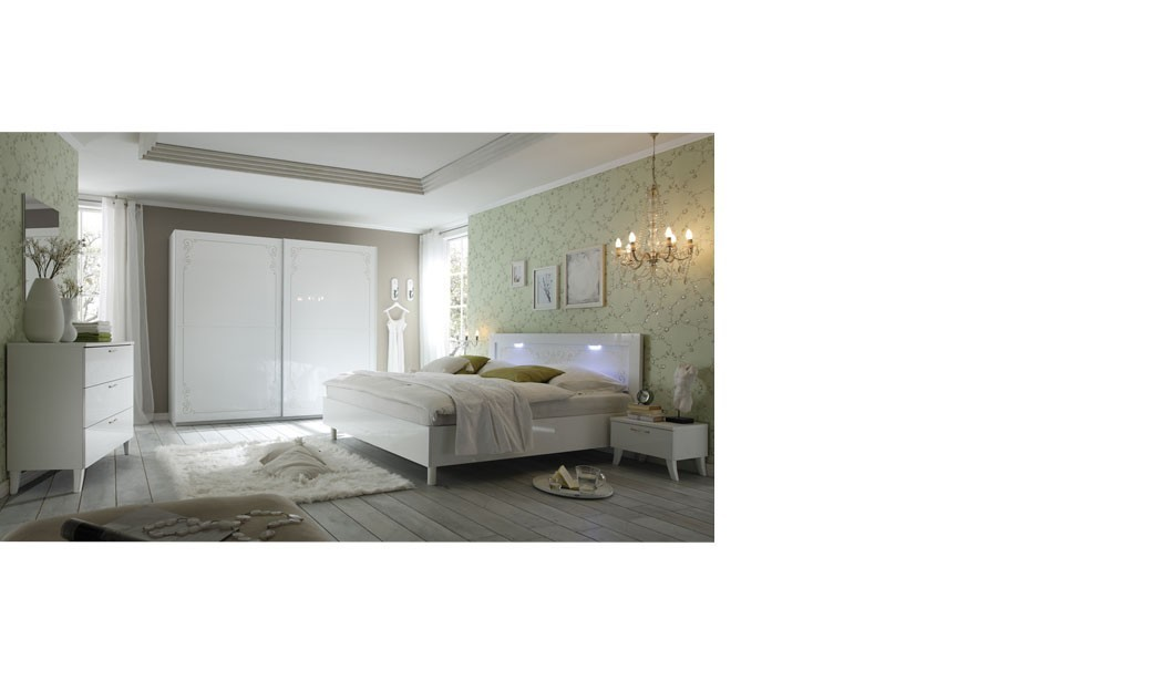 Chambre design blanc laqué, LED en option SISI 2