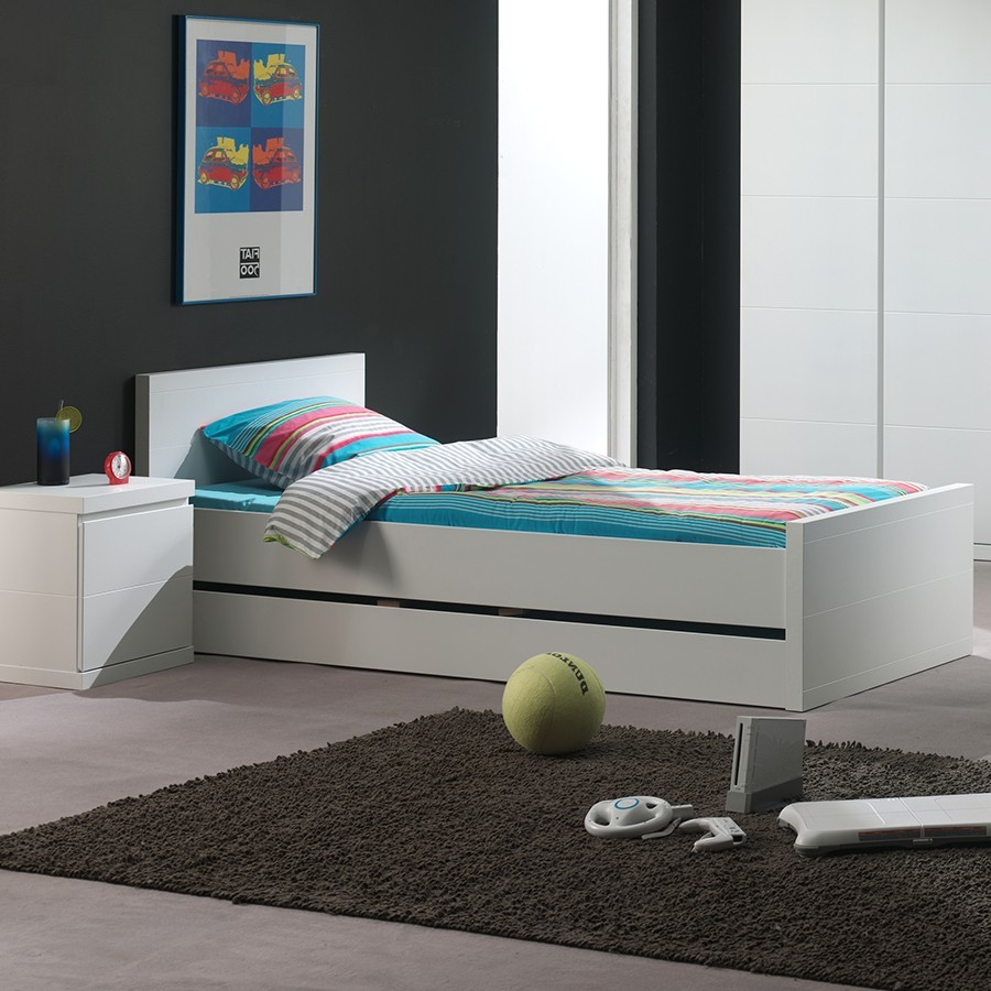 chambre enfant complete blanche laque lorene zd3 ch e c. Black Bedroom Furniture Sets. Home Design Ideas