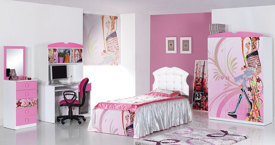 lit fille blanc et rose. Black Bedroom Furniture Sets. Home Design Ideas