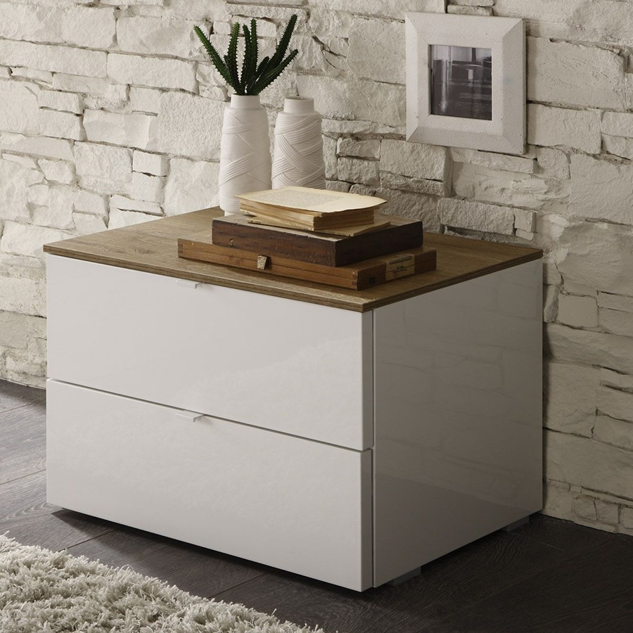 Chevet contemporain blanc et bois brocelia zd1 chv a c - Table de chevet cuir blanc ...