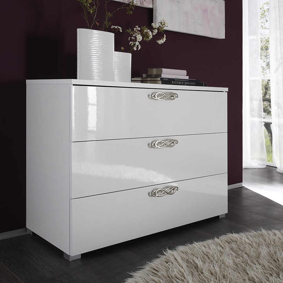 Commode 3 tiroirs design blanche infinity zd1 comod a d Commode blanc laque