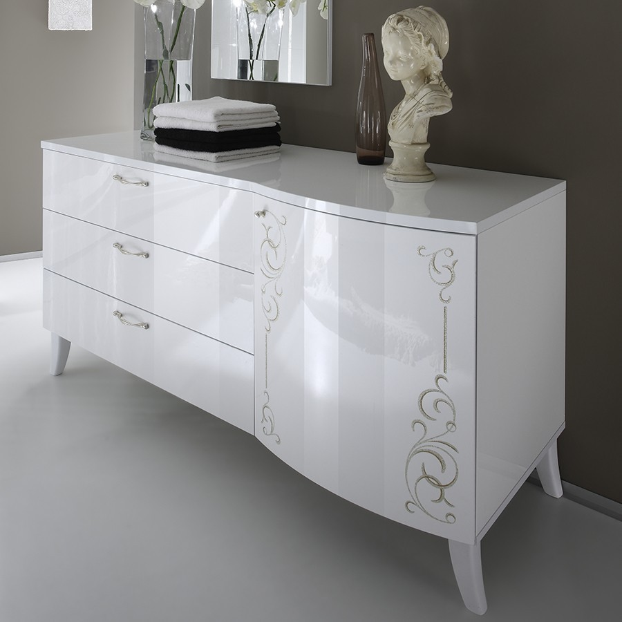 Commode adulte design blanche serigraphiee emma zd1 comod for Buffet blanc laque conforama