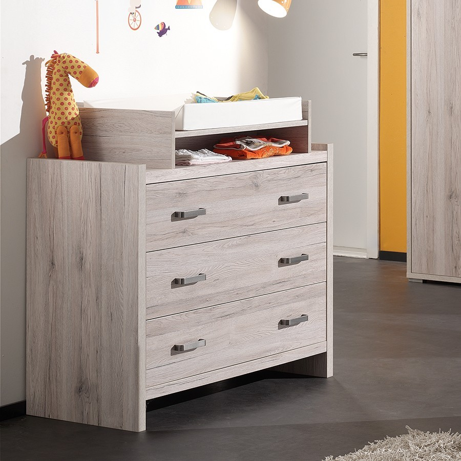 commode 3 tiroirs avec plan a langer. Black Bedroom Furniture Sets. Home Design Ideas