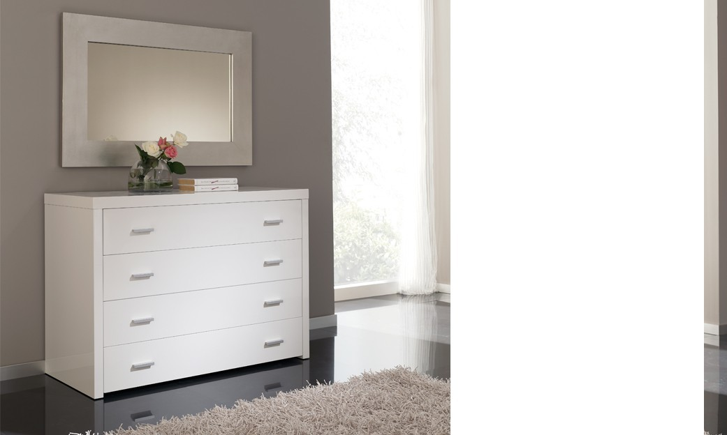 Commode adulte design laquée blanche TINO, 4 tiroirs